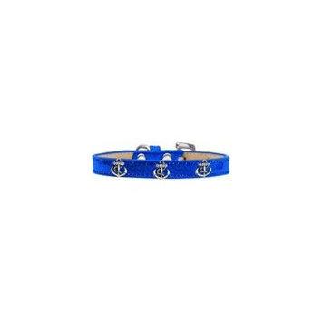 Silver Anchor Widget Dog Collar Blue Ice Cream Size 10