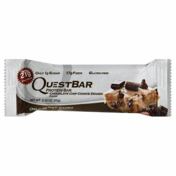 Quest Bar Chocolate Chip Cookie Dough Flavor Protein Bar, 2.12 Oz (Pack of 12)