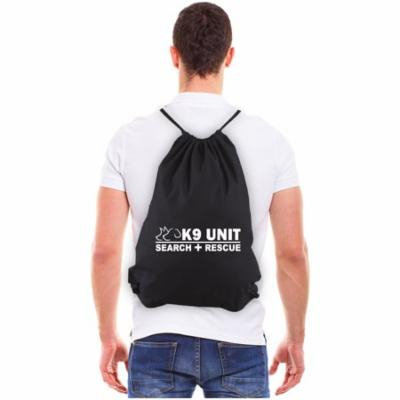K-9 Unit Search and Rescue Reusable Canvas Drawstring Bag, Black & White