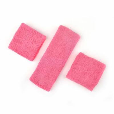GOGO Thick Solid Color Sweatband Set (1 Headband + 2 Wristbands), Price for ONE DOZEN-Pink