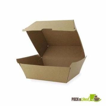 Packnwood 210EATBURG145K 5.7 x 5.3 x 3.25 in. Kraft Burger Box
