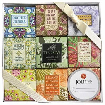 French Milled Botanical Soap Sampler Set in Nine Fabulous Scents, Individually Wrapped Vegetable Based Mini Soaps with Essential Oils, Shea Butter and Natural Extracts (Flower Favorites)