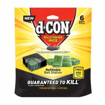 d-CON Refillable Corner Fit Mouse Poison Bait Station, 1 Trap + 6 Refills