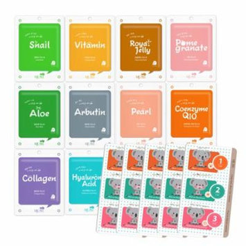 25 Packs, Korean Cosmetic Collagen Essence Full Facial Mask Pack Sheet with 3-Steps Nose Pack (20 Face + 5 Nose Pack)