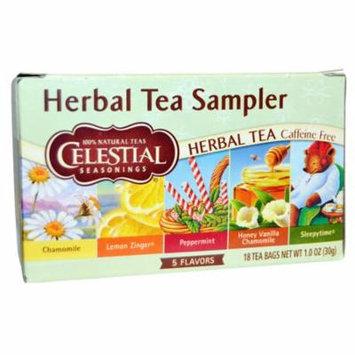Celestial Seasonings, Herbal Tea Sampler, Caffeine Free, 5 Flavors, 18 Tea Bags, 1.0 oz(pack of 6)