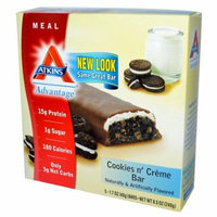 Atkins, Advantage, Cookies n' Creme Bar, 5 Bars, 1.7 oz Each(pack of 4)