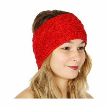 Womens Red Eye-Popping Ribbed Edge Soft Trendy Knit Headband