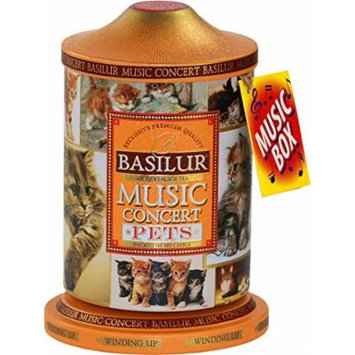 Basilur , Pets Music Tin , Music Concert Collection , Pure Ceylon Black Tea with mango, pineapple, strawberry, and cream , Metal Caddy , 20 Pyramid Tea Bags , Gift of Tea , Pack of 1