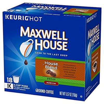 Maxwell House House Blend Decaf Coffee, Medium Roast, K-CUP Pods, 18 count(Pack of 2) DFWE