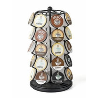 K Cup Coffee Pod Carousel Heavy Duty Spinning Espresso Capsule Pods Storage Rack Quality Rotating K-Cup Capsules Organizer Holds 35 K Cups Black
