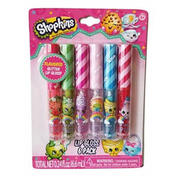 Shopkins Flavored Glitter Lip Gloss 6 Pack (Strawberry, Apple, Cupcake, Ice Cream, Banana, Cotton Candy Flavors)