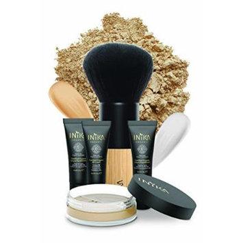 Inika Discovery Kit , Beauty Gift Set - Travel Sizes Primer , Liquid Foundation , BB Cream , Loose Mineral Powder Foundation , Full Size Vegan Kabuki Brush (Trust)