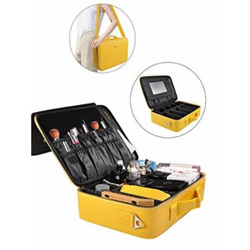 Portable Makeup Bag Professional Makeup Case Travel Cosmetic Toiletry Organizer with Shoulder/Pull rod Sleeve/Mirror Waterproof for Gift Festival Surprise (Large, Yellow)