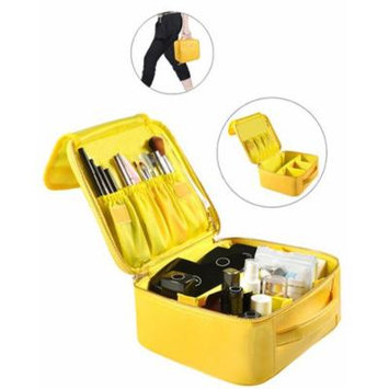 Portable Makeup Bag Professional Makeup Case Travel Cosmetic Toiletry Organizer with Shoulder/Pull rod Sleeve/Mirror Waterproof for Gift Festival Surprise (Small, Yellow)