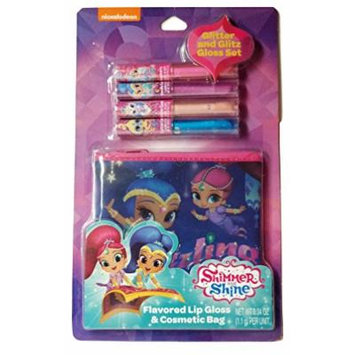 Flavor,Glitter, and Glitz Lips with Shimmer and Shine Lip Gloss & Cosmetic Bag 5 Piece Gift Set