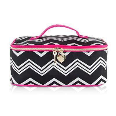 Betsey Johnson Nylon Chevron Train Top Handle Travel Toiletry Cosmetic Case Holder - Black White Stripe