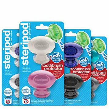 Steripod Clip-On Toothbrush Protector Family Pack - New Exclusive Colors (8 Steripods)