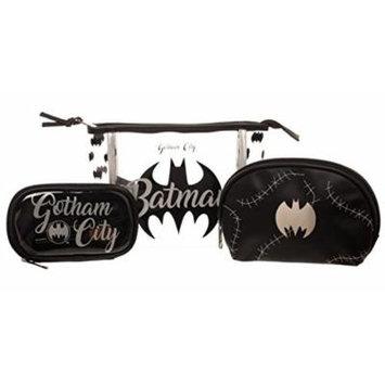 Batman Gotham City Silver Black Logo Juniors 3 Piece Cosmetic Bag Gift Set