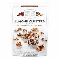 Creative Snacks, Almond Clusters, Cranberries & Cacao Nibs, 4 oz, Pack of 6