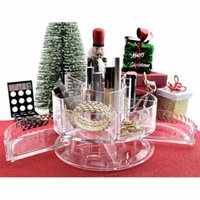 Acrylic Jewelry & Cosmetic Makeup Organizer Round With 2 Drawers and 6 Compartments