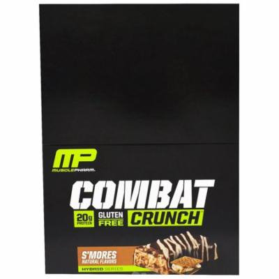 MusclePharm, Combat Crunch, S'mores, 12 Bars, 2.22 oz (63 g) Each(pack of 4)