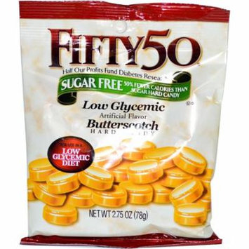Fifty 50, Butterscotch Hard Candy, Low Glycemic, Sugar Free, 2.75 oz (pack of 6)