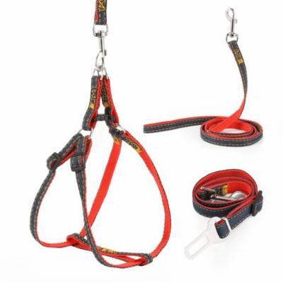 Magicfly Dog Leash Harness Adjustable & Pet Dog Car Seatbelt Harness Set Durable Leash Set Denim Dog Leash Collar Red S