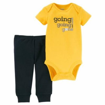 Baby Boy Short Sleeve Bodysuit & Pants, 2pc Outfit Set