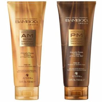 Alterna Bamboo Smooth Anti-Frizz AM / PM Smoothing Treatment Bundle KIT, 5oz