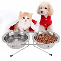 Raised Pet Bowls, Double Stainless Steel Round Shape Food and Water Bowl Feeder with Non-slip Stand for dogs, cats and other animal
