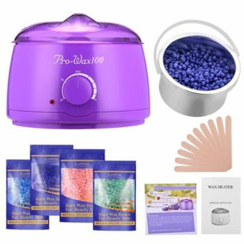 Fitnate Stylish Electric Hair Removal Heater Hot Wax Warmer Set w/ 4 Pack of Wax Beans & 10 Sticks,160F- 240F Control