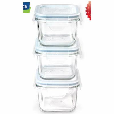 Glasslock Yum Yum Square Baby 0.886 Cup Food Storage Container