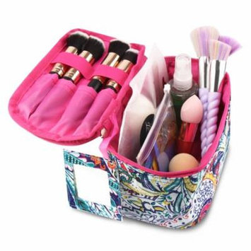 Zodaca Compact Small Cosmetic Makeup Tote Carry Bag Toiletry Organizer w/Mirror for Travel Camping Hiking