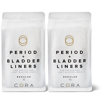 Cora Ultra Thin Period + Bladder Liners (84 Count pantyliners) - with Dry Wicking Technology for Periods and Light Incontinence