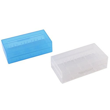 TOOGOO 2 Pcs Plastic Light Blue White 18650 Battery