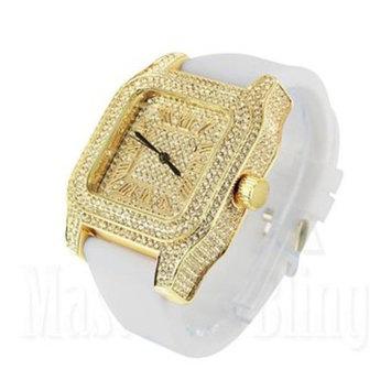 Techno Pave Watch Simulated Diamond White Silicone Band Gold Finish