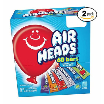 Airheads Bars Chewy Fruit Candy, Easter Basket Stuffers, Variety Pack, Party, Non Melting, 60Count Packaging May Vary (2 Pack)