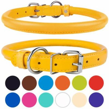 Rolled Leather Dog Collar for Medium Dogs, Yellow