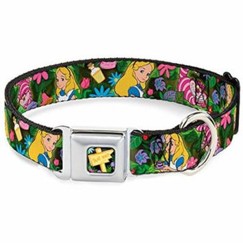 Dog Collar DYGZ-Alice in Wonderland THIS WAY Sign Flowers Full Color - Pet Collar