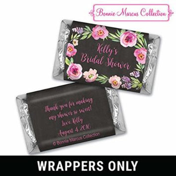 Bridal Shower Favors HERSHEY MINI Wrappers Bonnie Marcus Floral Embrace Bridal Shower Favors (100 Wrappers) Charcoal