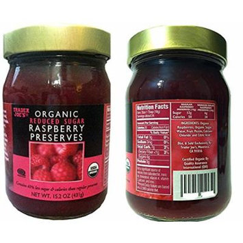 Trader Joe's Organic Reduced Sugar Raspberry Preserves 15.2 oz (Pack of 2 Bottles)