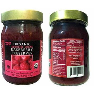 Trader Joe's Organic Reduced Sugar Raspberry Preserves 15.2 oz (Pack of 2 Bottles)