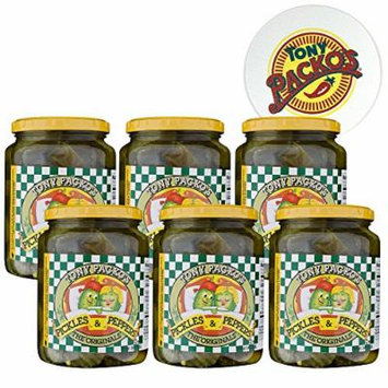 Tony Packo's Original Pickles and Peppers - 6 Jars with FREE Jar Opener