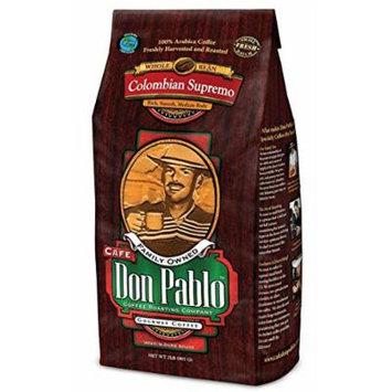 2LB Cafe Don Pablo Gourmet Coffee Colombian Supremo - Medium-Dark Roast- Whole Bean Coffee - 100% Arabica, 2 Pound