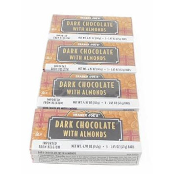 Dark Chocolate with Almonds Trader Joe's 4 Packs Each with 3 Bars (Total 12 Bars)