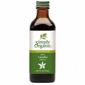 Simply Organic Pure Vanilla Extract, Certified Organic, 4-Ounce Glass Bottle (Pack of 2)