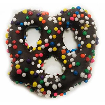 Gourmet Dark Chocolate Covered Pretzels with Rainbow Nonpareils by Its Delish (2 lbs)