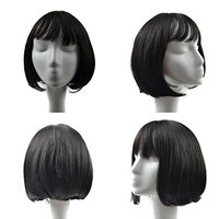 Huphoon Full Wigs Women Lifelike 30cm Short Straight Front Bangs Small Roll Silk Material Synthetic Hair 6 Color