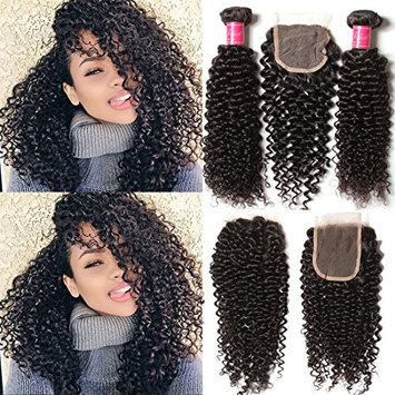 ALI JULIA 3 Bundles Brazilian Virgin Curly Hair Weft with 1pc 44 Lace Closure Free Part 7A Grade 100% Unprocessed Human Hair Extensions Natural Color
