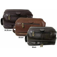 AmeriLeather Leather Toiletry Bag - Dark Brown